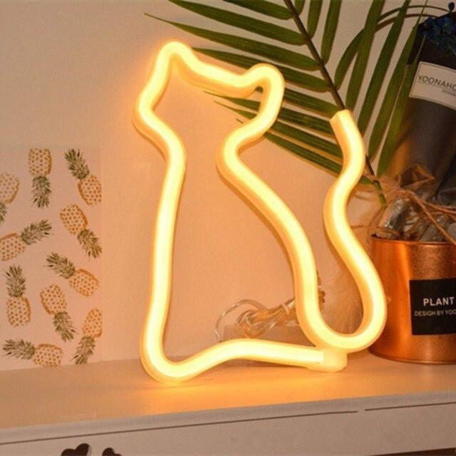 FENGLAIYI Unicórnio/Golfinho/Dinossauro/Gato Interior Iluminação Da Lâmpada de Parede Luz Da Noite LEVOU Marquise Operado A Bateria da luz de Néon para Casa