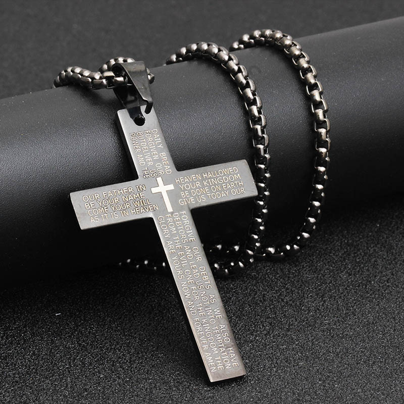 Classic Stainless Steel Bible Cross Necklace Pendant Men Hip Hop Jewelry Fashion Gold Silver Color Gun Black Long Chain Necklace