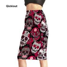 Qickitout юбки 2017 Модные женские сексуальные 3D юбки с завышенной талией и розовым черепом зло юбки Saia Миди Бесплатная доставка