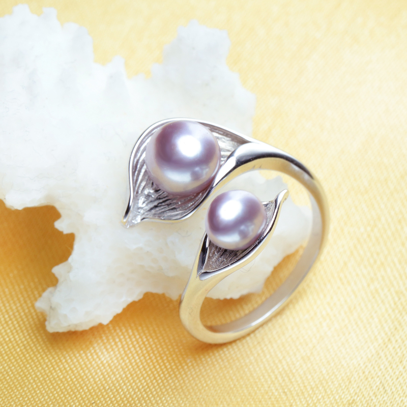 FENASY Natural Freshwater Double Pearl Ring Boho Fashion Leaf Statement Cocktail 925 Sterling Silver Rings For FENASY Natural Freshwater Double Pearl Ring Boho Fashion Leaf Statement Cocktail 925 Sterling Silver Rings For Women Jewelry