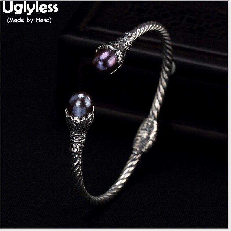 5b05d3e154df Uglyless 100% Real sólido 925 Plata de Ley joyería fina para las mujeres  pulseras de perlas ...