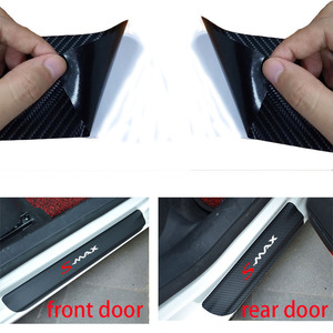Image 3 - 4pcs Fashion sticker Car Door Sill Protector Sticker Carbon Fiber Vinyl Sticker For Ford Smax S MAX