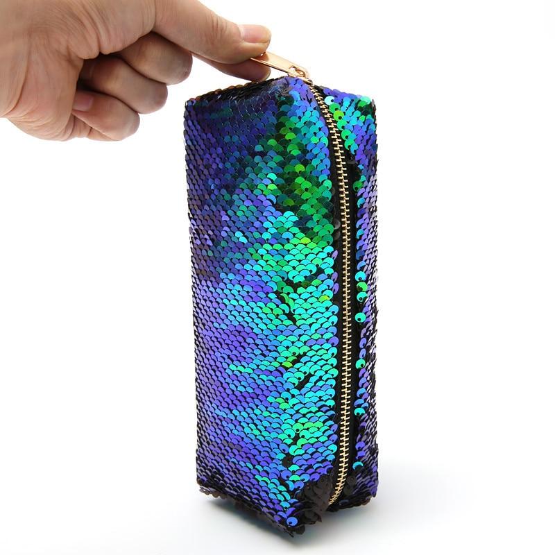 Laser pencil bag school flash mermaid sequin case handbag Stationery storage big