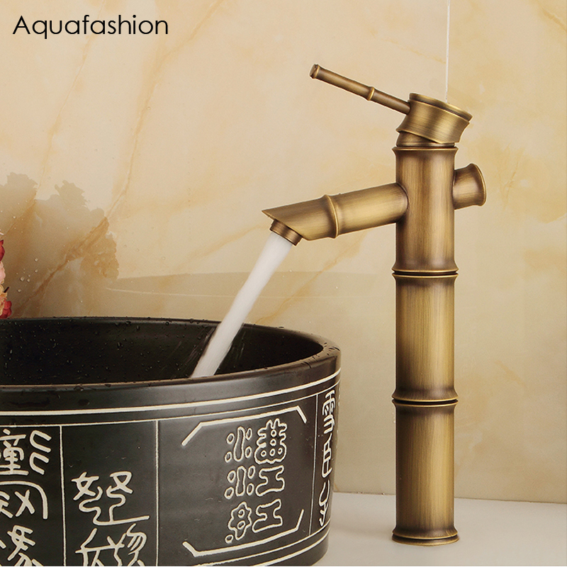 все цены на Antique Bamboo Bathroom Faucet Antique Bronze Finish Brass Basin Sink Faucet Single Handle Bamboo Water Tap