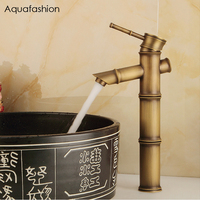 Antique Bamboo Bathroom Faucet Antique Bronze Finish Brass Basin Sink Faucet Single Handle Bamboo Water Tap