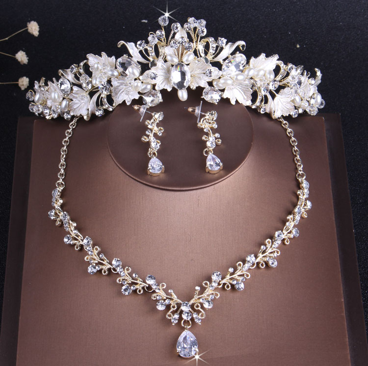 Necklace Earrings Jewelry-Sets Tiara Leaf-Pearl-Costume Crown Crystal Rhinestone Gold title=