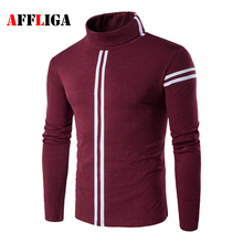 2017 Spring Mens Casual T Shirts Turtleneck Brand Clothing Long Sleeve For Man's Slim Male Striped Wear T-Shirts Tops Tees