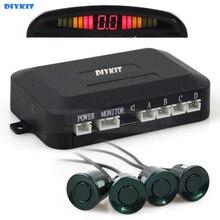DIYKIT Sensores De Estacionamento Radar Backup System Radar com LED Backlight Display + 4 Sensores