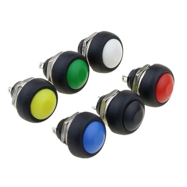 1Pcs 2Pin Mini Switch 12mm  1A waterproof switch 12v momentary Push button Switch since the reset Non-locking