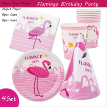 Omilut Flamingo Disposable Party Tableware Set Cartoon Pink Decor Plates Cups Paper Valentine Decoration Supplies