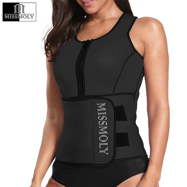 f4cb614538da8 Neoprene Shapewear Sauna Suit Top Vest Adjustable Waist Trainer Slimming  Women Weight Loss Adjustable Tummy Shaper
