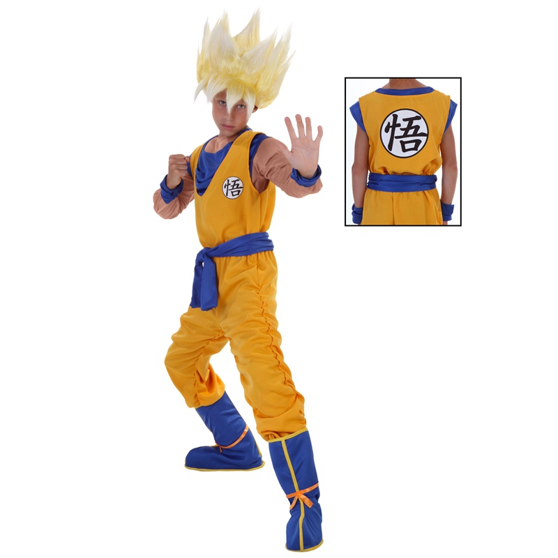 Boys Power Costumes Him Up in This Child Super Saiyan Goku Fighting Gear Dragon Ball Z Anime Transformed Warrior Cosplay Costume