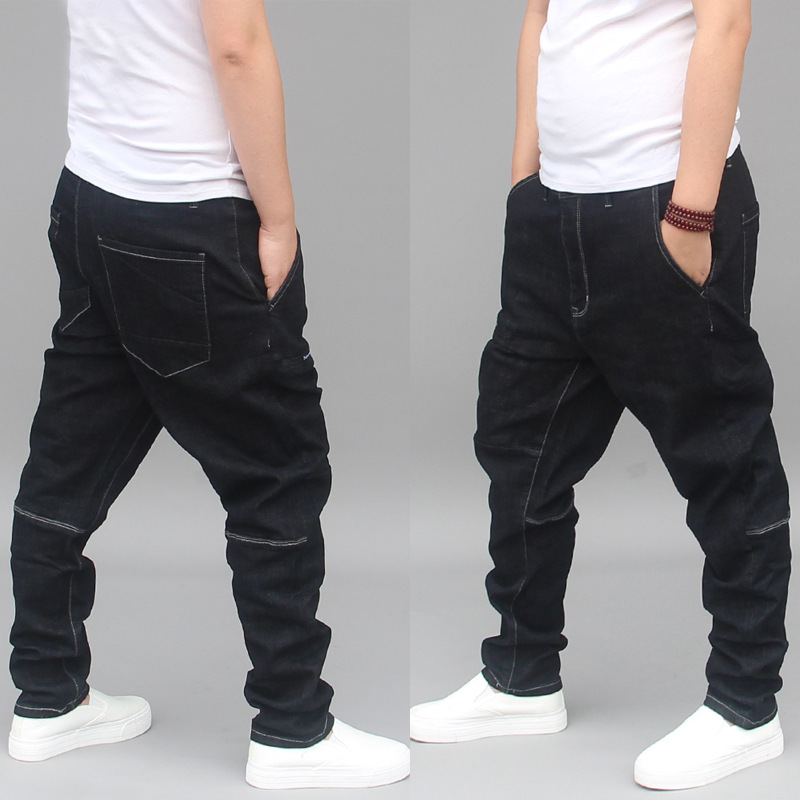 New Fashion Harem Jeans Men Denim Pants Patchwork Plus Size Loose Baggy Black Trousers Male Clothing