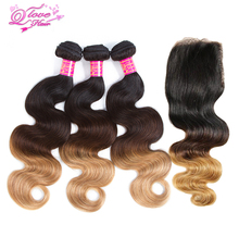 Queen Love Hair  3 Tone Ombre Malaysian Hair Bundles Body  Wave Human Hair Extensions 8-26inche T1B/4/27 Non Remy Hair