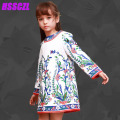 4-14 age girls Princess dresses 2017 new flower spring children's dress high-end brand kids long sleeve girl dress autumn floral