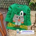 Бесплатная доставка мальчиков и девочек мультфильм корова плечо пряжки футболки, дети футболку, малыш одежда # Z437