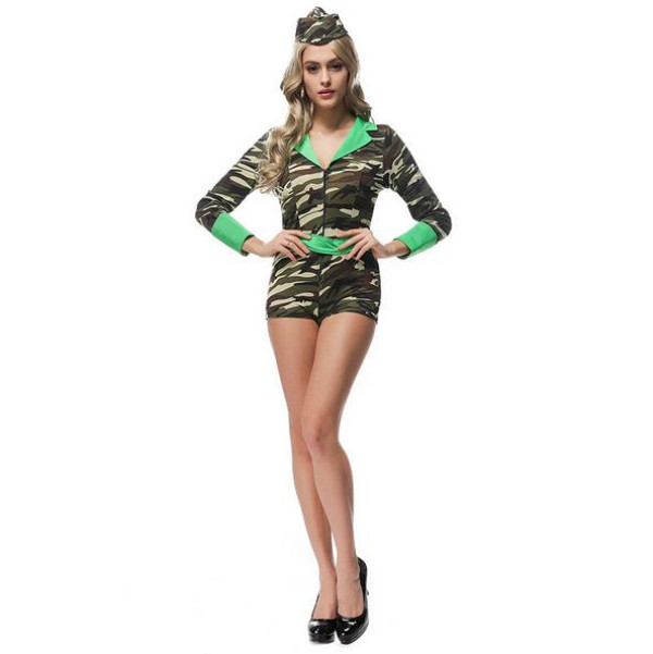 new arrive sexy army soldier costumes women halloween costumes camouflage jumpsuit military officer cosplay women party dress in sexy costumes from novelty