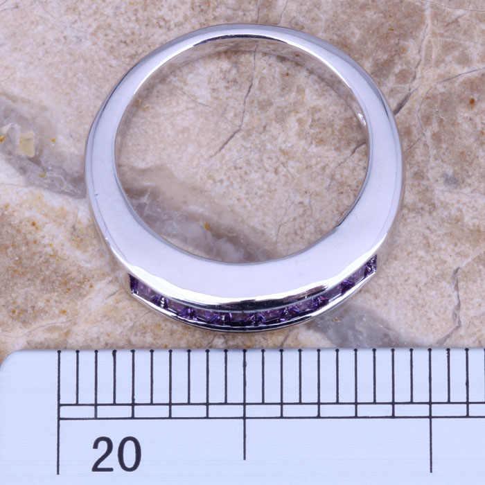 Awesome Purple Cubic Zirconiaชุบเงินแฟชั่นแหวนขนาด 6 / 7 / 8 / 9 R0017