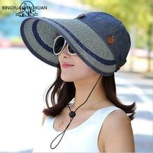 BINGYUANHAOXUAN sombreros mujeres borde ancho grande flojo verano playa  sombrero de sol Cap botón sombrero de 79a0f63d213