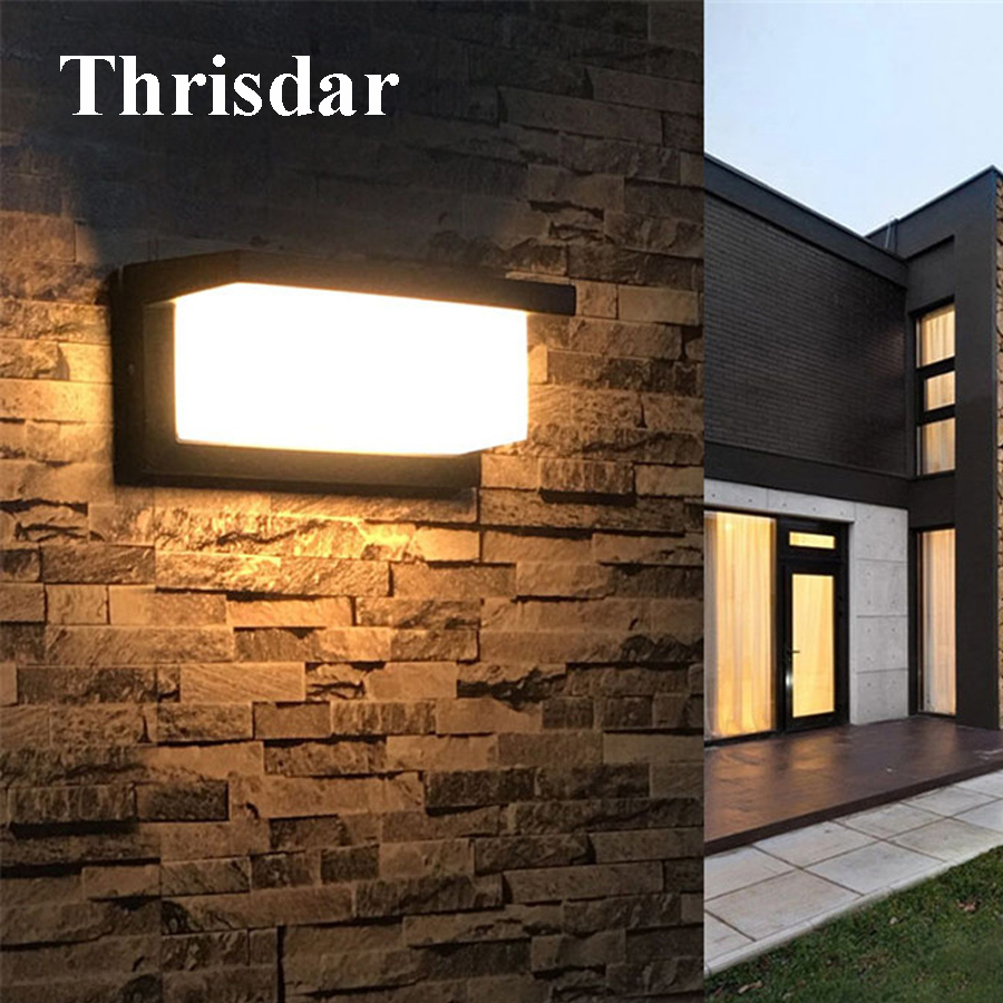Thrisdar 10W Waterproof LED Wall Lamp Surface Mounted Outdoor Garden Fence Porch Wall Light Villa Aisle Corridor Sconce Light thrisdar 20w ip65 waterproof wall lamps 40leds outdoor garden porch wall sconce lamp corridor garden hotel pathway porch light