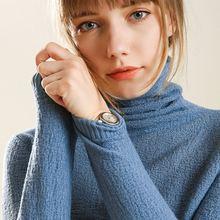 Suéter de cachemira de invierno de cuello alto para mujer, suéteres y jerséis tejidos de manga larga para mujer, Jersey de punto para mujer, Tops de punto para mujer
