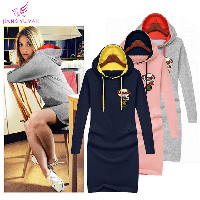 fda3b38b59 Vestidos Girls Women Dress High Street Fashion Casual Outdoor Sports Hooded Dresses  Woman Clothes Roupas Femininas Dropshipping
