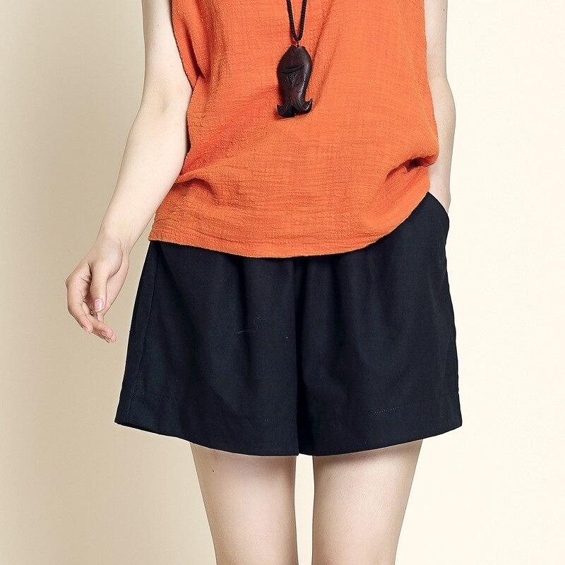 Cotton Linen Shorts Korean Women's Shorts Casual Elastic High Waist Short Pants Solid Loose Plus Size Wide-legged Trousers S-3XL