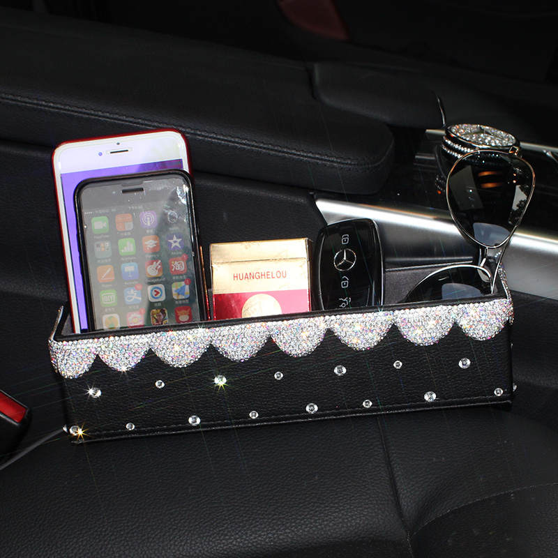 Bling Crystal Car Air Vent Clip Tidy Organiser Pocket Storage Phone Holder Case