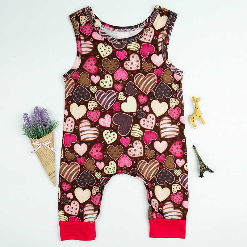 2018 Summer Fashion Baby Girl Clothes Cottons Sleeveless Romper Love Heart Printed Jumpsuit Baby Onesie