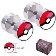 Pokemon Go poke ball Ear Ring ear stud earrings With wooden gift box Cosplay Otaku collection(China)