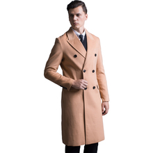 Men Plus size Autumn Winter New Simple Woolen Long Coat Mens Robe Outerwear Fashion Slim Korean Double breasted male Trench Coat