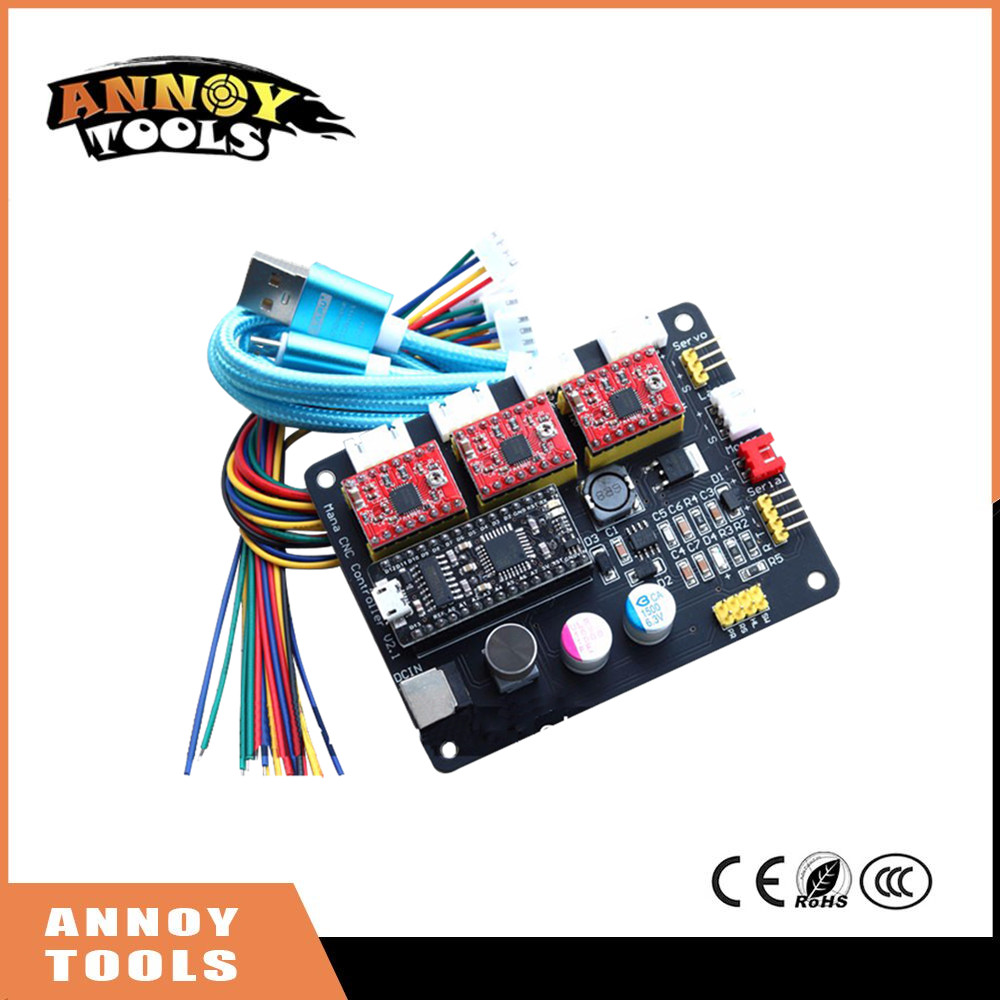 ФОТО ANNOYTOOLS Mana 3 Axis stepper motor drive control board for CNC Arduino GRBL/Benbox laser engraving machine Plotter Dispenser