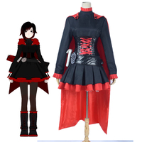 American Cartoon RWBY Red Trailer Ruby Rose Cosplay Costume Halloween Carnival Party Uniform Women S Fantasitc