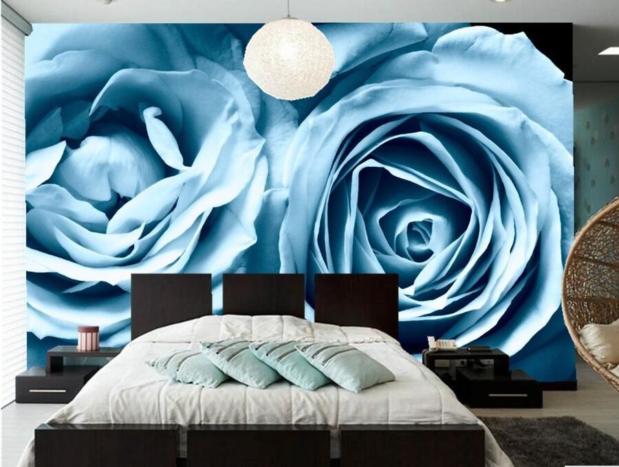Roses light blue flowers wallpaper hotel coffee shop for Light blue wallpaper bedroom