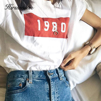 Hirsionsan 2018 New T shirt women White Summer Letter Printed Funny Cotton Tee Shirt Casual Loose O-neck Comfortable Women Tops