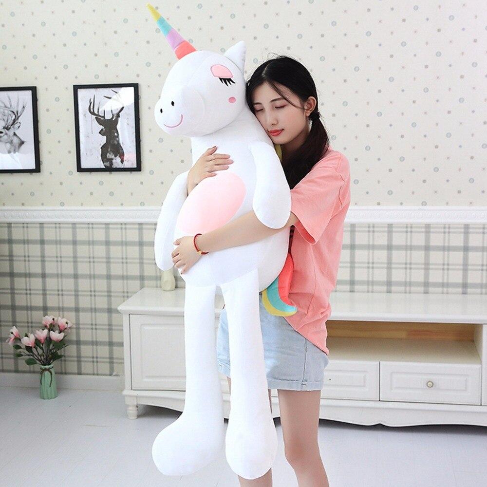 Azoo 140 cm licorne en peluche jouets mignon arc-en-ciel cheval doux poupée en peluche animaux doux jouets pour enfants cadeau pour petite amie cadeau de noël
