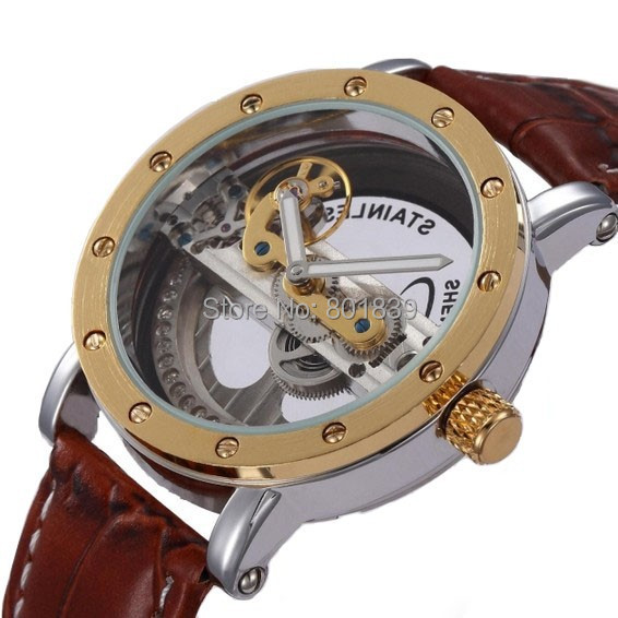 New Luxury Transparent TourbIiion Dial Diamond Golden Tone Skeleton Brown band Automatic Self Wind Mechanical Men Watch A523 yisuya casual fashion men self wind mechanical watch skeleton dial design brown leather band cool sport male watch best gift