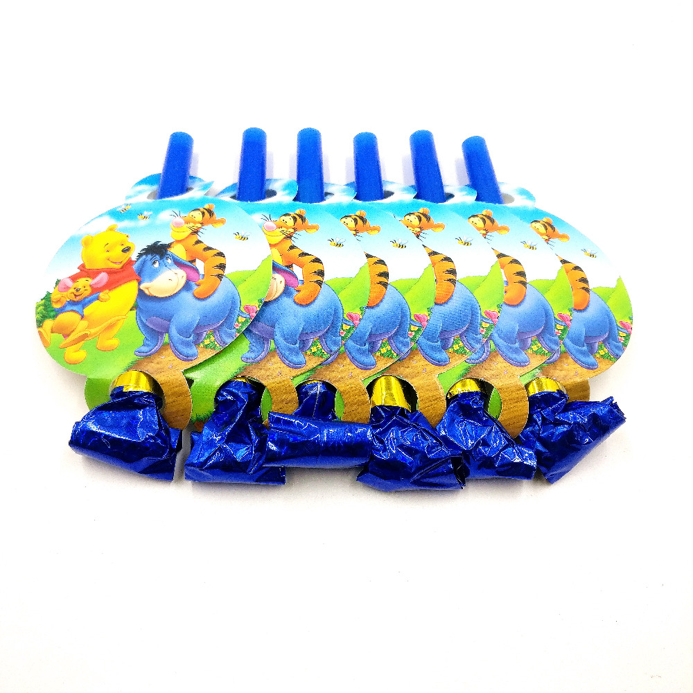 6Pcs/set Winnie the Pooh Cartoon Funny Whistles Childrens Party Supplies Birthday Blowout party decoracion