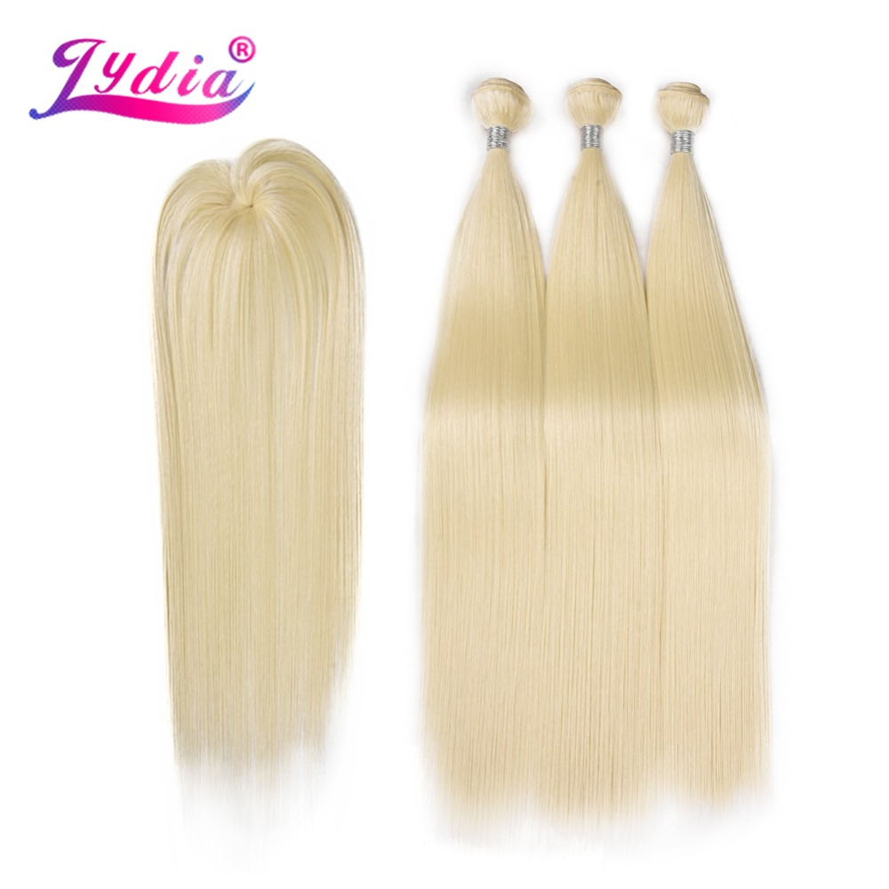 Lydia Synthetic Yaki Straight Hair Weave With Double Weft 613# Blonde Hair Bundles 16inch-20inch 4pcs/Pack With Free Closure