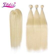 Lydia Synthetische Yaki Steil Haar Weave Met Dubbele Inslag 613 # Blond Haar Bundels 16 inch 20 inch 4 stks/pak Met Gratis Sluiting