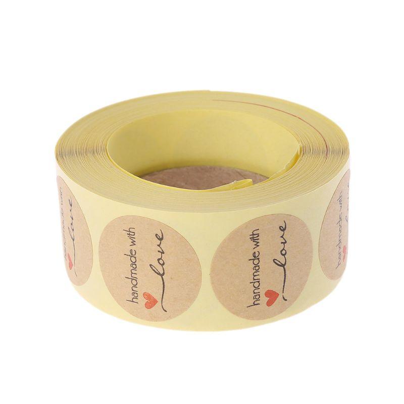 Круглые Крафт-наклейки ручной работы «с любовью», 500 шт.