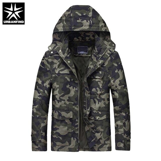 0cca56644146 Мужские военные Камуфляжные пальто человек с капюшоном Дизайн куртки  Демисезонный Мужская Удобная верхняя одежда хаки