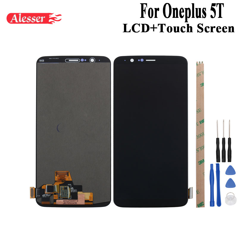 Alesser For Oneplus 5T A5010 LCD Display and Touch Screen Assembly Repair Parts With Tools And Adhesive For Oneplus 5T PhoneAlesser For Oneplus 5T A5010 LCD Display and Touch Screen Assembly Repair Parts With Tools And Adhesive For Oneplus 5T Phone