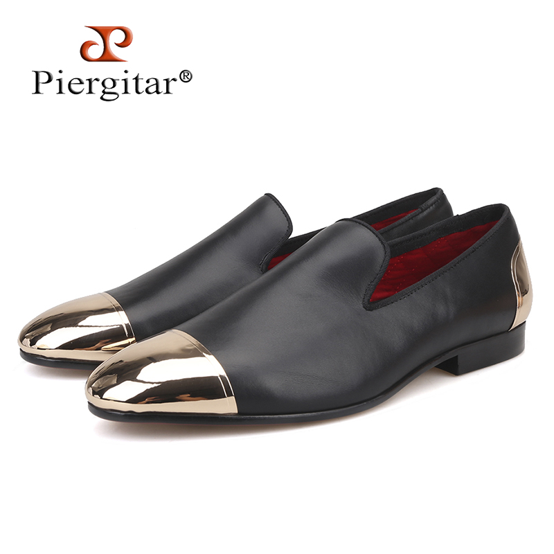 Piergitar 2018 new style Handmade Black Genuine Leather men shoes with front and back gold metal Fashion men slip-on loafers new fashion gold snakeskin pattern loafers men handmade slip on leather shoes big sizes men s party and prom shoes casual flats
