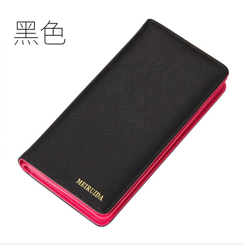 hot sale fashion high capacity women wallets contrast color zipper clutch women's long design wallet purse freeshipping 001