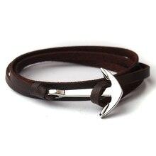 NIUYITID, мужской браслет с якорем, ювелирное изделие, коричневый, черный, с цепочкой, модные кожаные браслеты, унисекс, женский, мужской браслет
