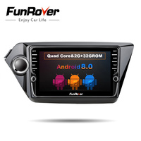 Funrover 8 IPS Android8.0 car dvd player for KIA RIO K2 2011 2016 gps navigation car stereo multimedia player with BT WIFI RDS