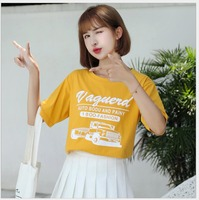 Women Yellow Tshirts Fashion Printed T Shirt Summer Casual Tee Tops Ladies Clothes JY1009