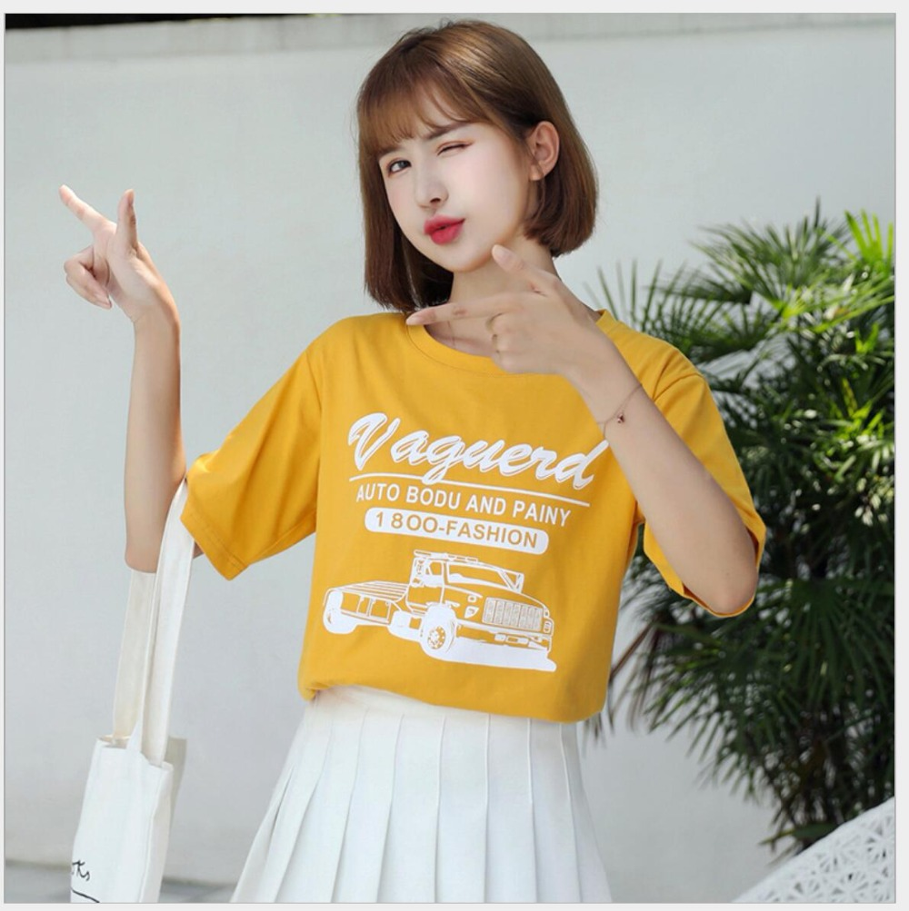Women Yellow Tshirts Fashion Printed T Shirt Summer Casual Tee Tops Ladies Clothes JY1009