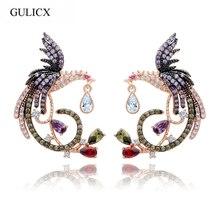 Regalo del día de san valentín gulicx único de lujo de oro rosa de color multi cz micro pave configuración phoenix bird stud pendientes para mujeres